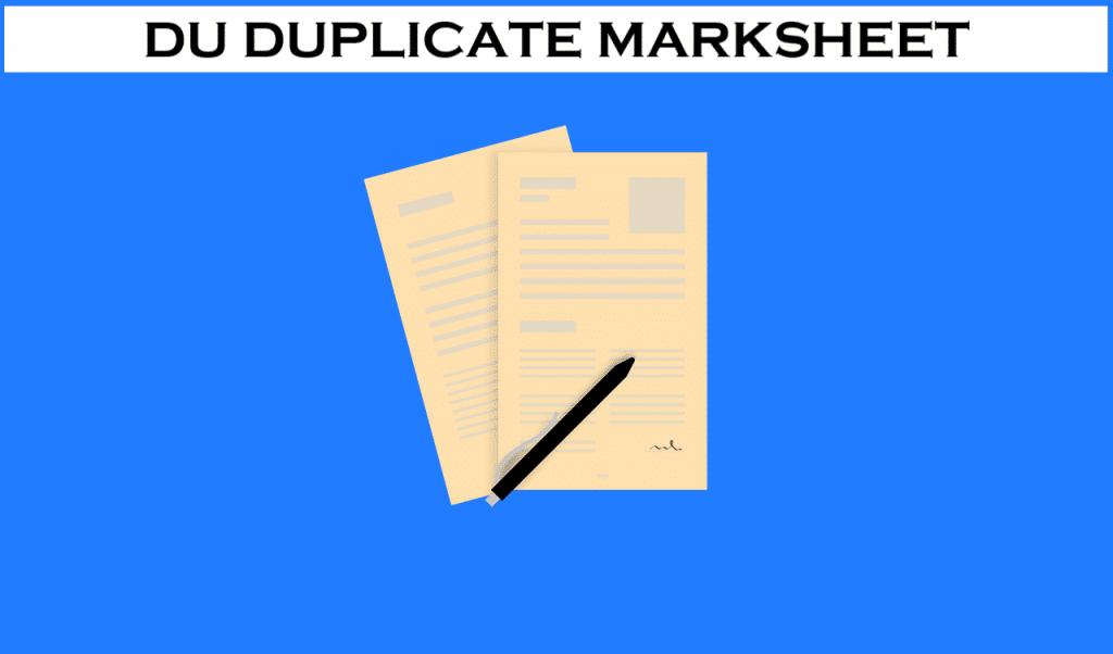 DU Duplicate Marksheet